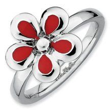 Heartfelt Silver Stackable Red Enameled Flower Ring. Sizes 5-10 Available Jewelry Pot. $20.99. 30 Day Money Back Guarantee. 100% Satisfaction Guarantee. Questions? Call 866-923-4446. Fabulous Promotions and Discounts!. All Genuine Diamonds, Gemstones, Materials, and Precious Metals. Your item will be shipped the same or next weekday!