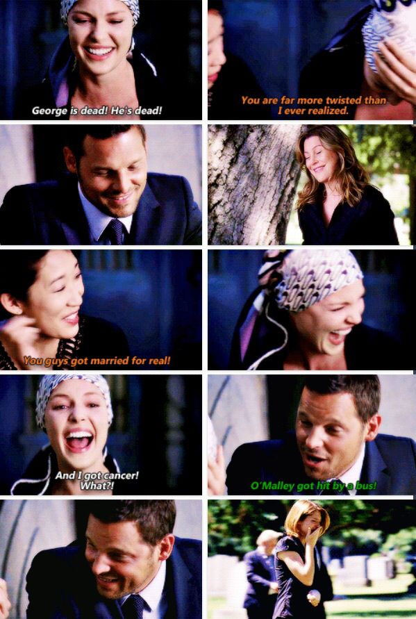 one of my favorite grey's anatomy moments of all time. i love when izzie responds to stress with laughter.