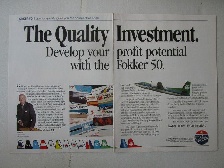 9/1989 PUB FOKKER AIRCRAFT FOKKER 50 AER LINGUS COMMUTER RAY WILSON ORIGINAL AD