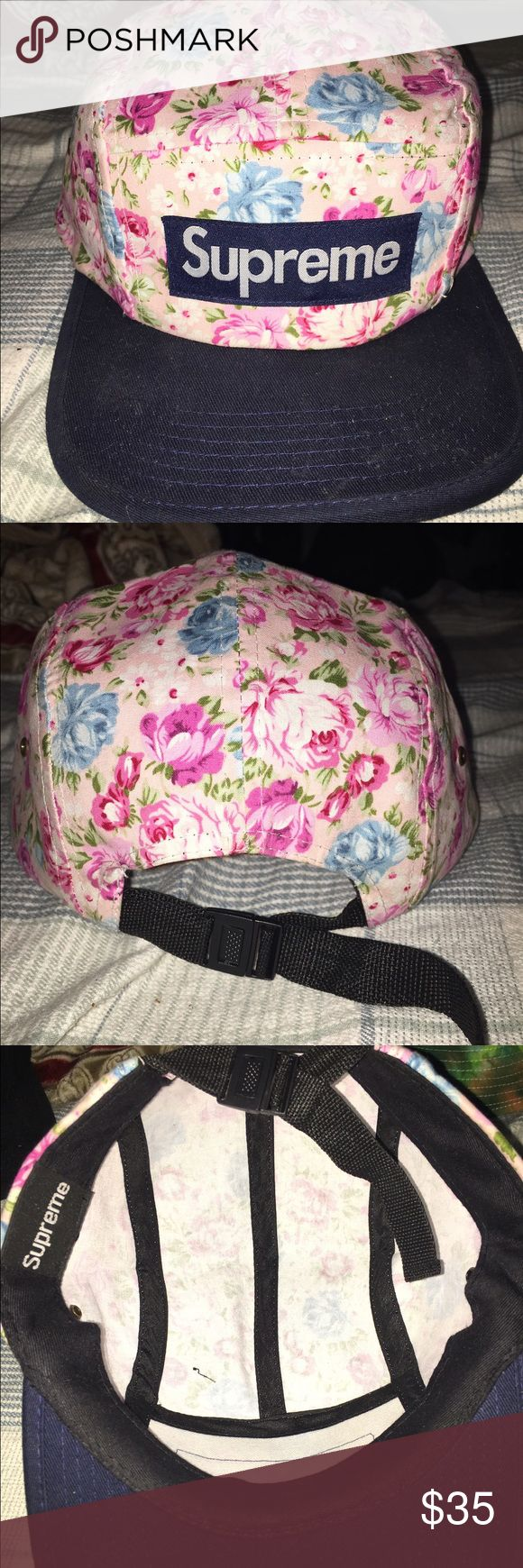 Supreme Hat Selling this floral designed supreme hat that i no longer wear. sadly flag was torn off by the person that had this before me. but in great condition. BEST OFFER. Supreme Accessories Hats