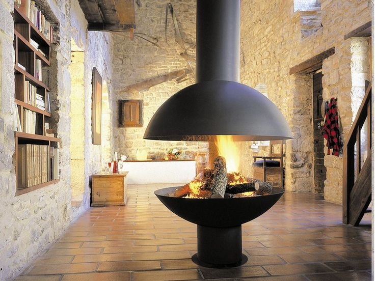 Open central swivel hanging steel fireplace MEZZOFOCUS by Focus | design Dominique Imbert