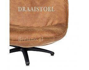 Lifestyle Royale Draaistoel / Fauteuil FORLI bruin met zwarte kruispoten