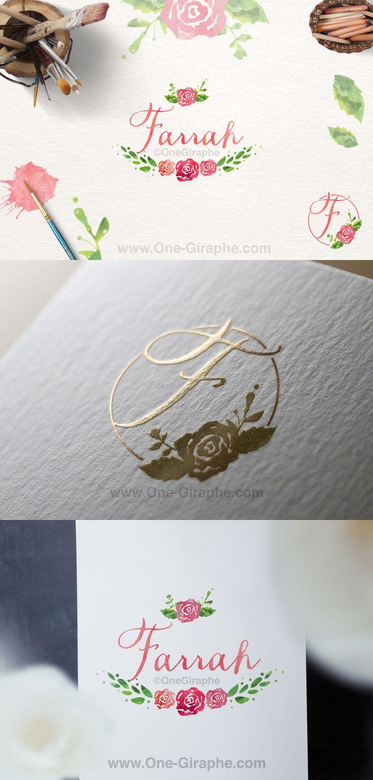 Farrah #1 for sale now: http://one-giraphe.com/prev.php?c=128 #logo #logodesign #graphic #graphicdesign #readymade #logostore #watercolor #watercolorlogo #etsy #pinterest #instagram #behance #dribbble #logopond #affordable #cheap #etsy #seller #logo #feminine #pink #onegiraphe