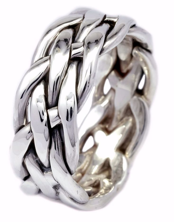 8mm Artisan Handcrafted Woven Sterling Silver Braid Ring Size 7 8 9 10 [ISR0032] #BKGjewelry #Band