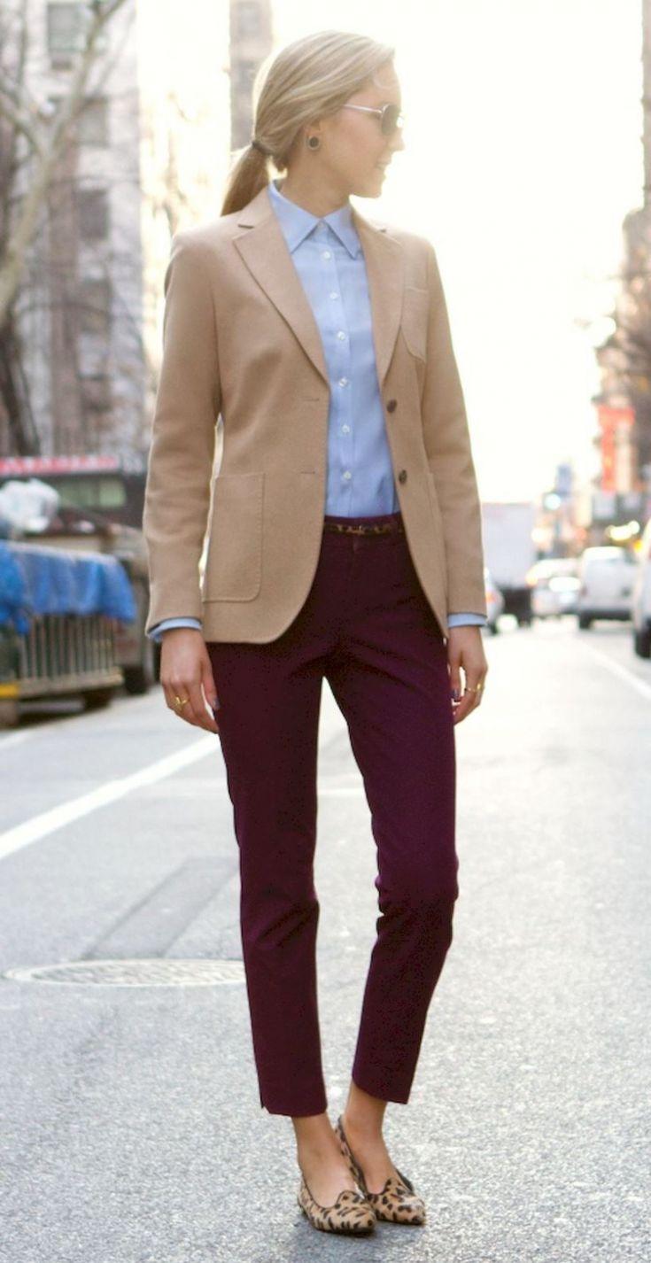 how to wear a beige blazer : blue shirt + pants + leoprad flats