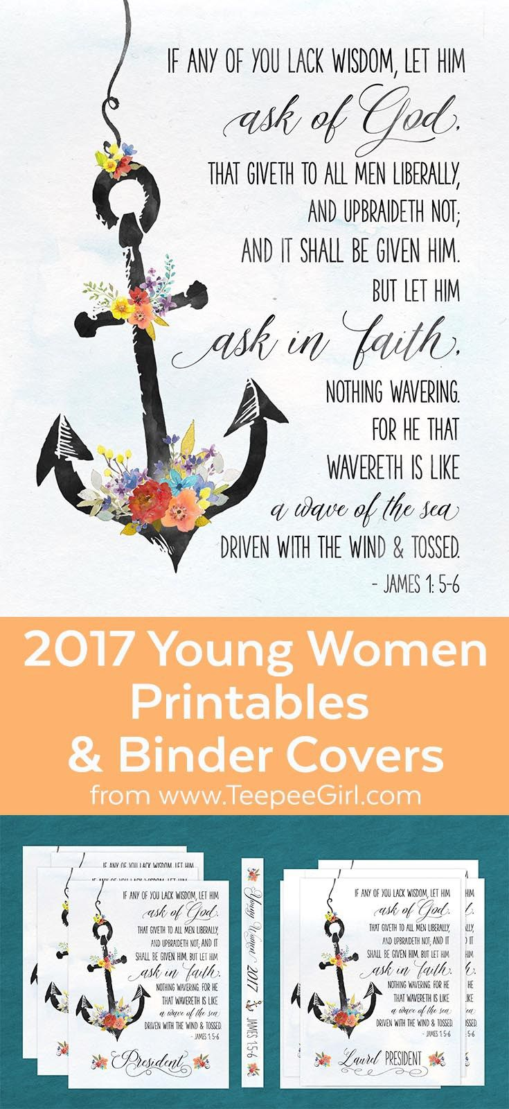 Poster design for class 5 - Free 2017 Young Women Printables Binder Covers