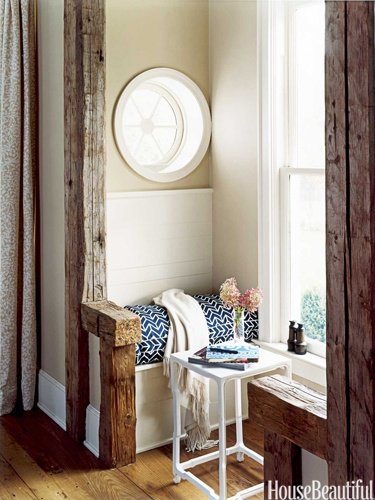 Mixing up rustic and painted cottage style.: Cozy Nooks, Idea, Round Window, Breakfast Nooks, Beams, Reading Nooks, House, Small Spaces, Window Seats