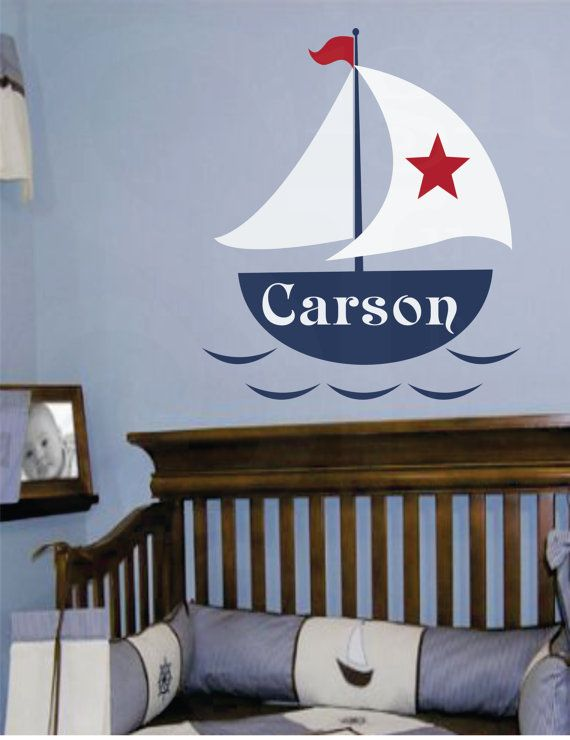 """Nautical Name Decal- Custom Vinyl Wall Name Decal - Monogram Baby Boy or Girl Wall Name Decal with Boat and Stars-nursery 22""""H x 27""""W on Etsy, $39.95"""