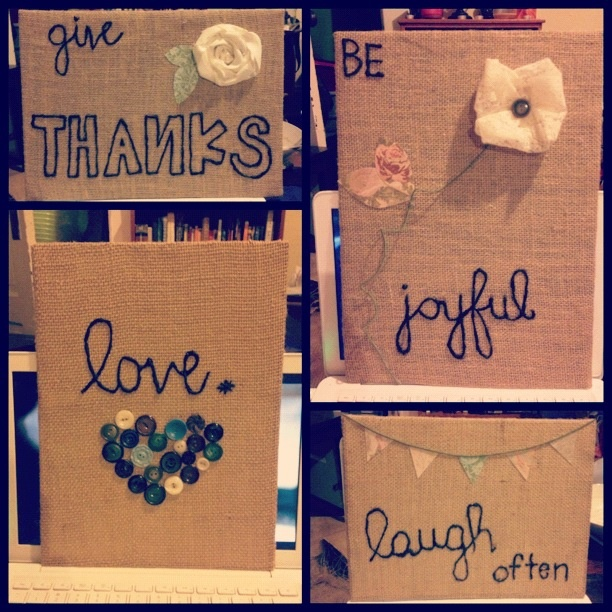 Burlap wall hangings for our bedroom! #burlap CUTE could totally make this... And frame... maybe gifts?