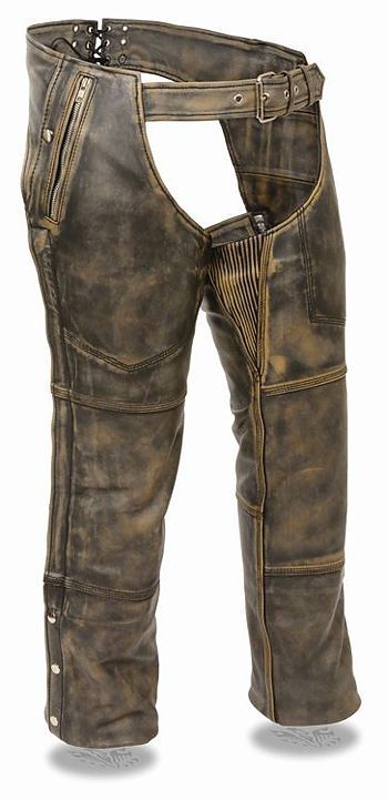 Men's Milwaukee Leather Distressed Brown Four Pocket Motorcycle Chap w/Snap Out Thermal Liner
