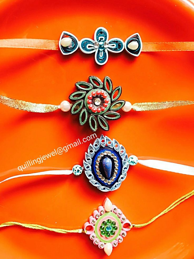 Quilling Rakhis made by referring designs found in pinteret