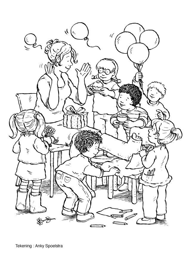 Kleurplaat Ballonnen ziek zijn