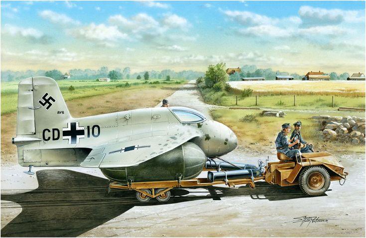 Messerschmitt Me-163A «CD+10» with Scheuch-Schlepper. Stanislav Hajek. http://www.elgrancapitan.org/foro/viewtopic.php?f=52&t=17924&p=914935#p914934