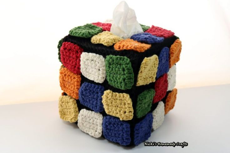 FREE PATTERN: Rubik's Cube tissue box with rearranging colored square tiles inspired by The Big Bang Theory – Nicki's Homemade Crafts