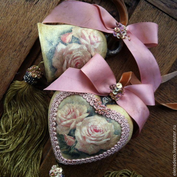 """Подвески ручной работы. Ярмарка Мастеров - ручная работа. Купить """"Розовые сны"""" Интерьерные Сердечко и Колокольчик. Handmade. Разноцветный, бисер"""