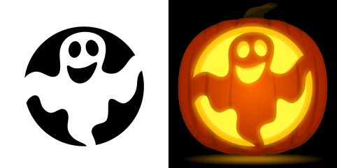 Ghost pumpkin carving stencil. Free PDF pattern to download and print at http://pumpkinstencils.org/download/ghost-pumpkin-stencil/