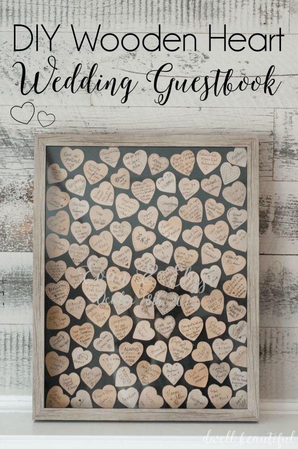 DIY Wooden Heart Wedding Guestbook Idea - Dwell Beautiful