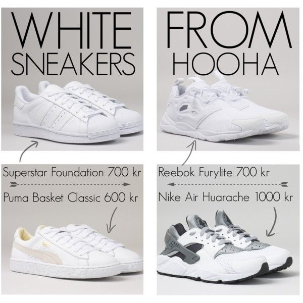 white sneakers from hooha by lauraaugustinus on Polyvore featuring Reebok, adidas and NIKE