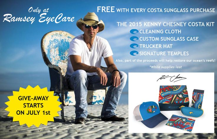 Starting on July 1st: Get a free hat, signature case, cleaning cloth and more when you purchase a pair of Costa sunglasses from Ramsey EyeCare!