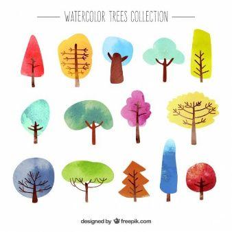 Colección de árboles de acuarela