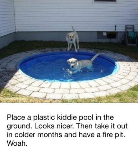 Truco Garden.  Gran idea sobre qué hacer con ese pozo de fuego.  O tal vez se puede convertir en un foso de arena .: