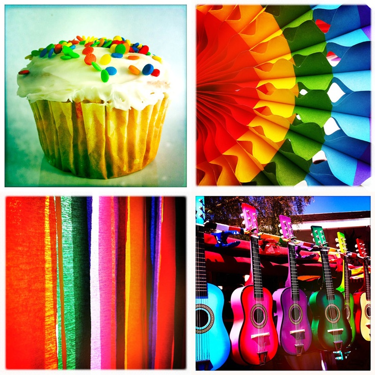 "Rainbow Colorful Photo Set of three 4"" square bright festive san diego cinco de mayo birthday. $10.00, via Etsy."