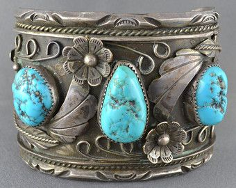 Signed Vintage Navajo Sterling Silver and Turquoise Bangle Cuff