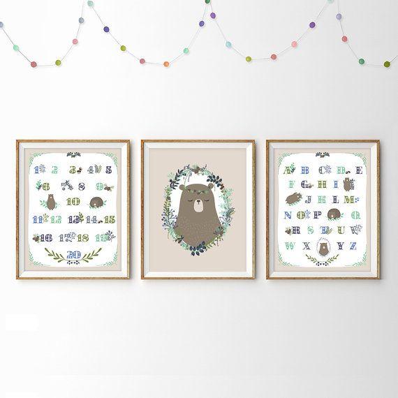 Bear nursery art Instant Download 11x14 Woodland by LlamaCreation