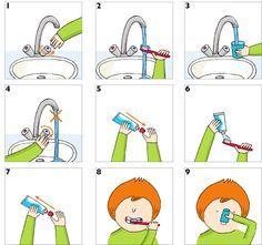 #Autisme Se brosser les dents #étapesparétapes. #Astuces et #conseils pour l'aider à se brosser les dents