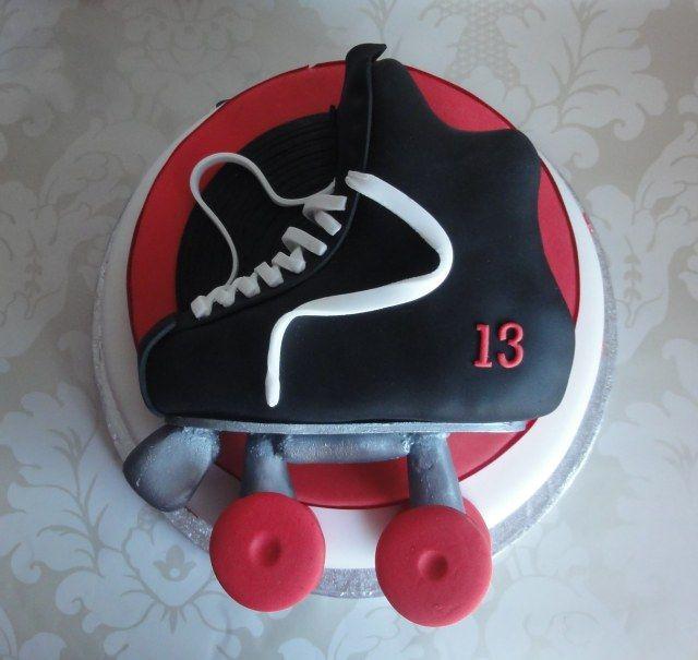 Roller skating cake boy