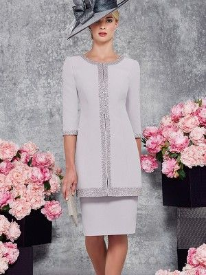 Sheath/Column Scoop 3/4 Sleeves Knee-Length Satin Applique Mother of the Bride Dresses at HerDress Online