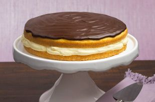 Boston Cream Pie (easy version)  Would like to try with one layer of choc and one layer of yellow cake. Could also frost with regular chocolate frosting.  Maybe add lemon to yellow cake.