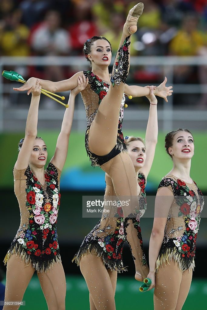 Russia compete during the hoop and club rotation 2 in the group all-round…