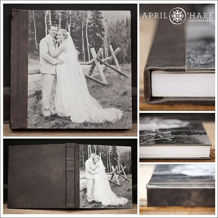 A Finao Album Featuring Metal Armour Black And White Photo Cover Paired With Biker Dark Brown LeatherDistressed LeatherWedding