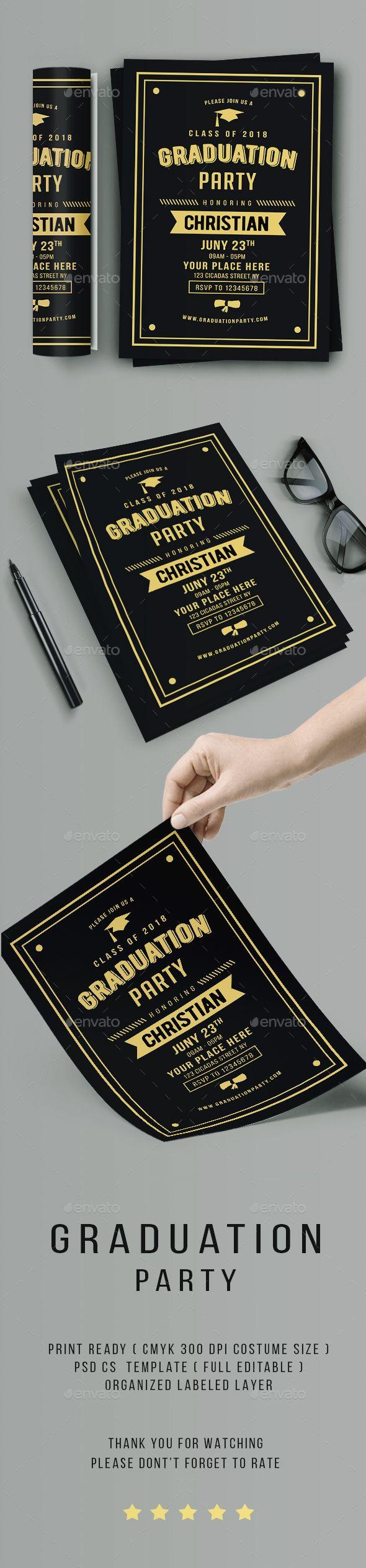 Vintage Graduation Invitation Template PSD
