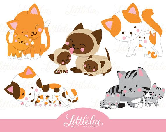 Cat mom and kitten  family clipart  16054 by LittleLiaGraphic