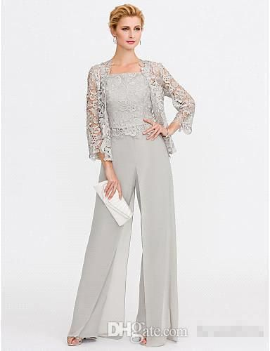 c57113fa947 2018 Newest Gray Mother Of The Bride Dresses Two Pieces Lace Jackets Mothers  Dresses For Wedding Events Pants Suit Evening Gown BC005 Mother Of The Groom  ...