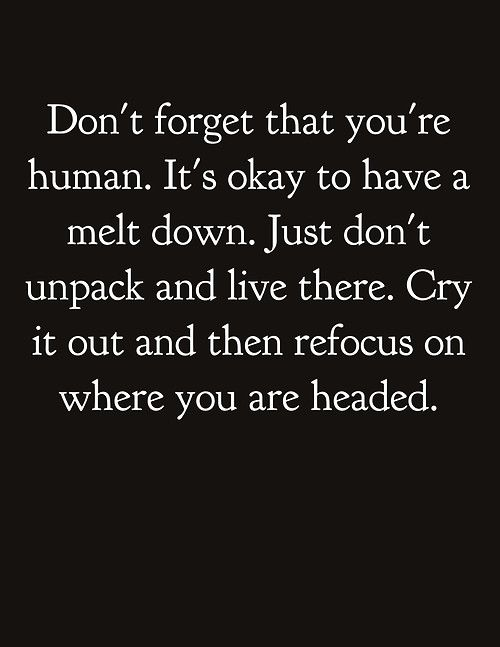 Don't forget that you're human. It's okay to have a melt down. Just don't unpack and live there. Cry it out and then refocus on where you think you are headed.