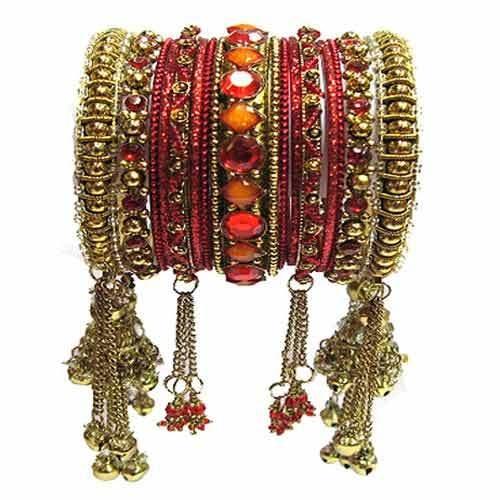 Red Jhumka Bangles