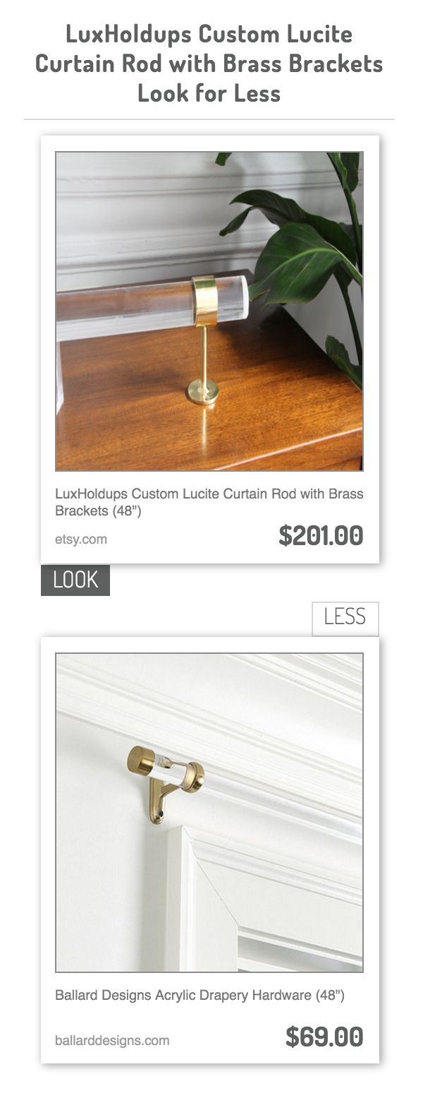 Bay windows and corner curtain rods apps directories - Luxholdups Custom Lucite Curtain Rod With Brass Brackets Vs Ballard Designs Acrylic Drapery Hardware