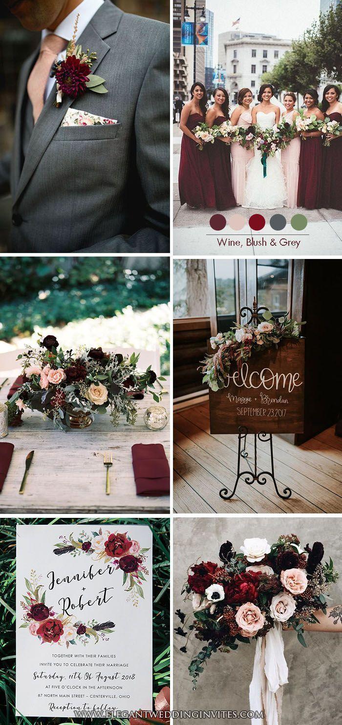 Moody Burgundy Wine, Blush und Dark Grey Klassische Hochzeit Farbe Inspiration #…
