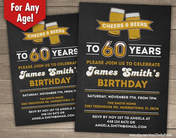 60th Birthday Invitation Male Cheers to 60 years by ChalkyPrints