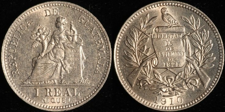 #Guatemala 1 Real, 1910. Check out more World Coins at meridiancoin.com, see what's selling on our eBay, or come by our store in #Torrance CA. #coin #money #collecting #numismatic #numismatist