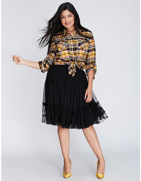 Embroidered Tiered Tulle Skirt | Lane Bryant