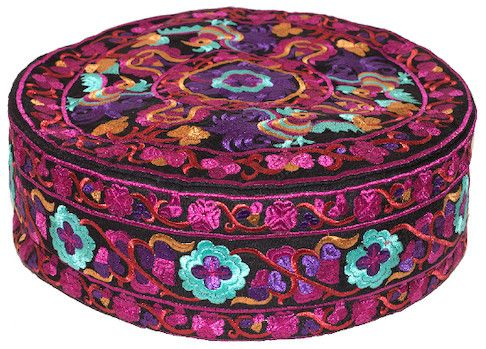 Embroidered Floral - Fuchsia - Floor Pillow, 13 in., SKU: 007846