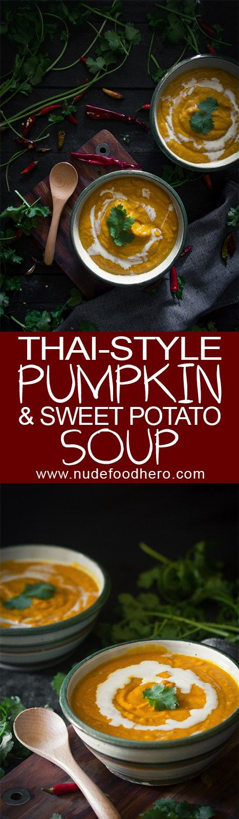 Satisfy your healthy comfort food cravings with this Thai pumpkin and sweet potato soup. Quick, easy and delicious!