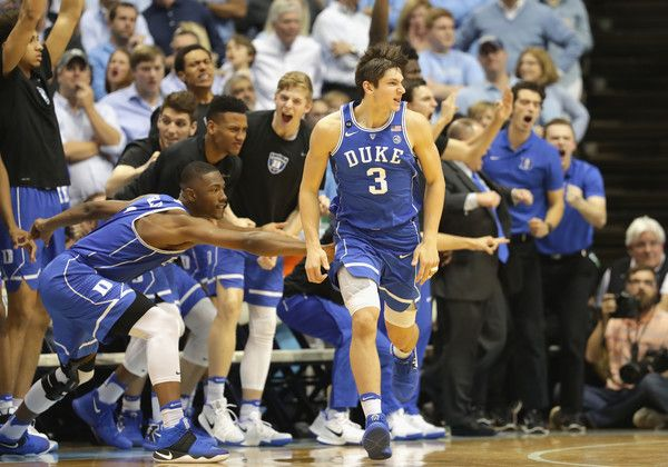 Grayson Allen Photos Photos - Grayson Allen #3 of the Duke Blue Devils reacts after a shot against the North Carolina Tar Heels during their game at the Dean Smith Center on March 4, 2017 in Chapel Hill, North Carolina. - Duke v North Carolina