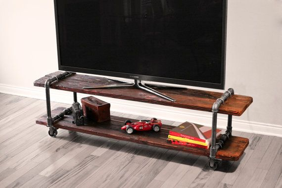 Vintage Industrial Cast Iron Pipe Table TV by AntonMakaDesigns, $600.00