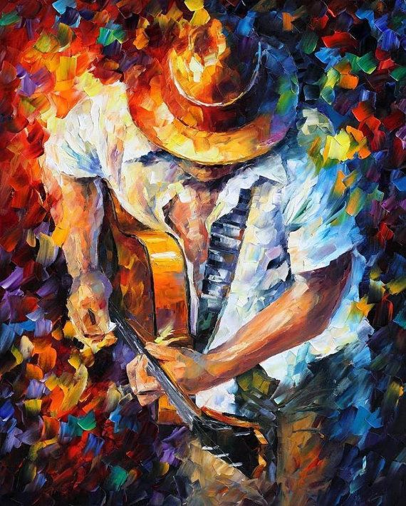 Guitar and Soul — PALETTE KNIFE Figure Of Musician Oil Painting On Canvas By Leonid Afremov, $249.00