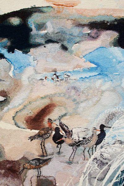 """Concerning the wading birds of the Warrnambool wetlands"" John Wolseley 2012 Size: 1.8m x 1.9m Materials: wool, cotton Weavers: Chris Cochius, Pamela Joyce, Milena Paplinska. Australian Tapestry Workshop. #tapestry"